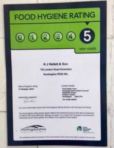 Helletts 5 out of 5 hygiene rating
